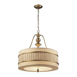 Elk Lighting - Elk Lighting-31387/3-Luxembourg - Three Light Pendant - The Luxembourg collection blends classic detailing to a modern design. This series has a pleated cream fabric drum shade accented with metal rings and traditional hardware finished in Brushed Antique Brass.