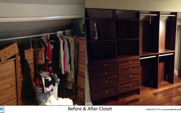 Before and After knee wall closet