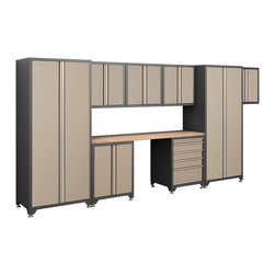 Newage Products - NewAge Products Pro Series Taupe 9-Piece Cabinetry Set - The Pro Series 9-piece Set is an ideal storage solution for any workshop or garage. For a clean,unique,and fresh new look the Pro Series delivers. Relax and unwind while working on a project using the Maple block work surface.
