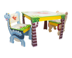 Teamson Design - Fantasy Fields Hand Painted Dinosaur Kingdom Table and Set of 2 Chairs - Teamson Design - Kids' Table & Chair Sets - TD0079A - Marvel in the creativity and originality of the Teamson Dinosaur Table and Chairs Set. This one of a kind table features a mighty pterodactyl soaring across its top and brightly painted tree trunks serve as the table's legs. Two hand carved and painted chairs offer a 3 dimensional T-Rex and  Apatosaurus popping from the wood work. Offer your child the perfect place to color do arts and crafts or have snack time. Merchandise features non-toxic paint quality wood and craftsmanship. Some assembly required perfect for ages 3 and up.