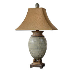 Uttermost - Kayson Green Mosaic Table Lamp - Pale Blue Green Mosaic Tiles With Heavily Burnished Chestnut Brown Details. The Rectangle Bell Shade Is A Rusty Bronze Fabric With Natural Slubbing.