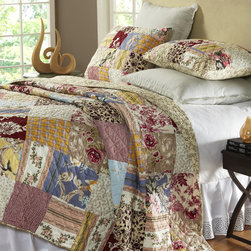 Cottage Home - Fay Floral Patchwork 3-piece Quilt Set - Add this beautiful patchwork quilt set to any bed room for a fun country look. The set includes at least one sham and is composed of a soft and machine washable cotton.