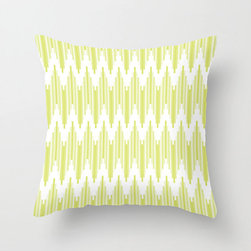 High Frequency Pillow Cover in Lime - Liven up the sofa with this sharp chevron pillow cover reminiscent of ikat weaving. Full of energy in a bright summer color, it complements a variety of styles to fit right into your living room.