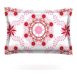 "Kess InHouse - Anneline Sophia ""Let's Dance Red"" Pink Floral Pillow Sham (Cotton, 30"" x 20"") - Pairing your already chic duvet cover with playful pillow shams is the perfect way to tie your bedroom together. There are endless possibilities to feed your artistic palette with these imaginative pillow shams. It will looks so elegant you won't want ruin the masterpiece you have created when you go to bed. Not only are these pillow shams nice to look at they are also made from a high quality cotton blend. They are so soft that they will elevate your sleep up to level that is beyond Cloud 9. We always print our goods with the highest quality printing process in order to maintain the integrity of the art that you are adeptly displaying. This means that you won't have to worry about your art fading or your sham loosing it's freshness."
