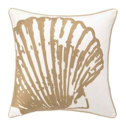 Peking Handicraft - Beach Scallop Shell Embroidered Pillow - Beautifully done neutral pillows for the beach! Large embroidered khaki-tan scallop shell on a 18 x 18 coastal 100% cotton canvas sealife pillow, with rope like trim. Down-filled insert included.