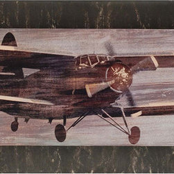 Paragon Decor - Craving Altitude - Convex - A vintage airplane is stacked on a distressed brown painted convex board.