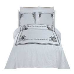 Bed Linens - Athena Embroidered Duvet cover Set Full-Queen White & Black - You are invited to experience the comfort, luxury and softness of our luxurious Embroidered duvet covers. Silky Soft made from 100% Egyptian cotton with 300 Thread count woven with superior single ply yarn. Quality linens like this one are available only at selected Five Stars Hotels.