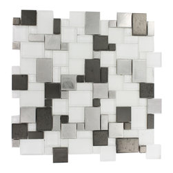 "Breeze Steel Ice Piazza Pattern - Breeze Steel Ice Piazza Pattern Glass Tiles This distinctive pattern is made of various sized pieces of frosted and polished glass with brushed stainless and black steel. Each piece fits into the next like a perfect puzzle. It's stunning design and unique pattern of squares will bring a modern and contemporary ambiance to the room.The elegant, easy to clean Breeze Steel Ice Piazza tile's frosted and polished glass with edgy brushed stainless and black steel makes it an ideal choice! Chip Size: Random Color: Stainless Steel Silver, Black and Super White Material: Glass and Metal Finish: Polished, Frosted and Brushed Sold by the Sheet - each sheet measures 12""x12"" (1 sq. ft.) Thickness: 8mm Please note each lot may vary from the next."