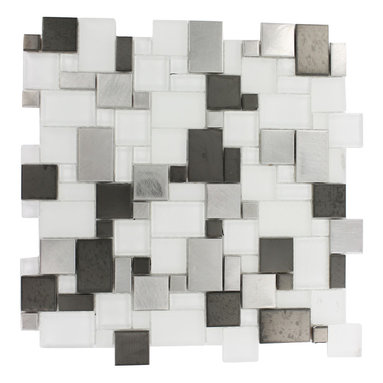 """Breeze Steel Ice Piazza Pattern - Breeze Steel Ice Piazza Pattern Glass Tiles This distinctive pattern is made of various sized pieces of frosted and polished glass with brushed stainless and black steel. Each piece fits into the next like a perfect puzzle. It's stunning design and unique pattern of squares will bring a modern and contemporary ambiance to the room.The elegant, easy to clean Breeze Steel Ice Piazza tile's frosted and polished glass with edgy brushed stainless and black steel makes it an ideal choice! Chip Size: Random Color: Stainless Steel Silver, Black and Super White Material: Glass and Metal Finish: Polished, Frosted and Brushed Sold by the Sheet - each sheet measures 12""""x12"""" (1 sq. ft.) Thickness: 8mm Please note each lot may vary from the next."""