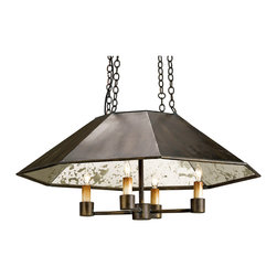 Kathy Kuo Home - Byblos Industrial Loft Bronze Luxe Pendant Chandelier - With a black, antique mirror lined metal shade and a combination of mid century modern and contemporary Asian references, this four light pendant would also look great in rustic and industrial loft settings.
