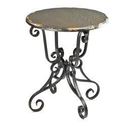 Safavieh - Safavieh Taylor Side Table with Scroll Base X-A8104HMA - Masterful iron scrollwork creates a fanciful base for the Taylor side table, with contrasting round top in birch wood veneer with dark Java crackle finish.  Use this romantic piece in bedroom or living room in both formal and country interiors. Assembly r