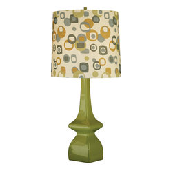 Robert Abbey - Retro Lamp, Avocado Base - Play up the retro look in any room with this classic lamp and linen shade. The rich color palette may be decades old, but it works easily in any modern home. Use it in a children's room or an office for a warm and festive look.