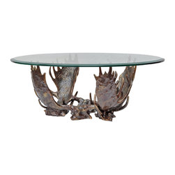 Crestview Collection - Crestview Collection CSFZR375 Fighting Moose Antler Coffee Table - Crestview Collection CSFZR375 Fighting Moose Antler Coffee Table