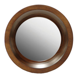 Palecek - Porthole Mirror Large - The large Porthole mirror reflects classic sophistication for the mod interior. Circling its plain edge centerpiecehand-turned dark brown gemelina wood offers richorganic warmth. Includes keyhole hangers
