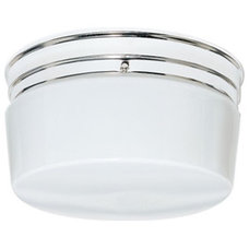 "Nuvo 77-344 2 Light 10"" Flush Mount Large White Drum Polished Chrome"