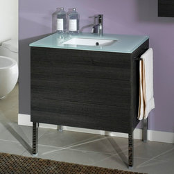 Iotti - 2 Drawers Vanity Cabinet with Undermount Sink - Essential, linear and clean lines, made even more precious by the different possibilities of the sink and the top. Create a minimalist and contemporary design, Time defines a young, dynamic style, with a touch of class. Chrome legs to be purchased seperately. Made in Italy. High end ceramic sink made in Italy. Faucet not included. All drawers feature soft-close runners. The engineered wood vanity is made with waterproof panels. Single vanity features 2 drawers. Top of the vanity comes in a white finish. Top of vanity made of glass.