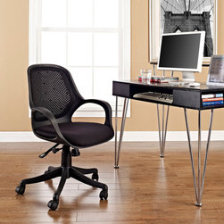 Arrow Office Chair - Streamlined productivity is innately felt in the Arrow compact task chair. The classic office chair style was remade with a personal touch in this comfortable and forward looking installment. Looped arms and an ergonomically shaped back lend support to an organized work environment. The frame is made of durable hard plastic, while the breathable mesh back and padded seat are polyester. Fully height adjustable with a tension knob to control the chairs tilt, Arrow will transform your tasks into opportunities to lead with presence and dignity.