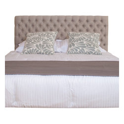 Great Deal Furniture - Holland Queen/Full Headboard, Beige - Dress up your bedroom with this elegantly designed headboard. This French inspired headboard is button tufted and can attach to almost any queen or full metal frame bed, as well as adjust according to the height of your mattress.