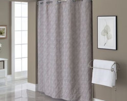 """Hookless - Hookless Embroidered Diamond 71-Inch x 74-Inch Fabric Shower Curtain and Liner S - This innovative shower curtain and liner offer no hassles thanks to their """"split ring"""" hookless design that lets you hang them in less than 10 seconds."""