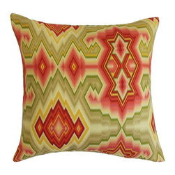 """The Pillow Collection - Ruairi Geometric Pillow Fiesta 20"""" x 20"""" - Bring a festive vibe to your home by showing off this interesting decor pillow. Mix and match this throw pillow with solids and other patterns like stripes, plaid and floral. You can instantly update the look of your living room or bedroom with this stylish square pillow. A kaleidoscopic geometric pattern in shades of red, green and yellow is featured in this accent pillow. Made from 100% plush and soft cotton material. Hidden zipper closure for easy cover removal.  Knife edge finish on all four sides.  Reversible pillow with the same fabric on the back side.  Spot cleaning suggested."""