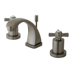 """Kingston Brass - Kingston Brass Millennium Satin Nickel Mini Widespread Lavatory Faucet KS4948ZX - This mini-widespread lavatory faucet with its cylindrical base and  """"C"""" spout  will work well with most contemporary or transitional d_cors, manufactured from solid brass this faucet features ceramic cartridge for long lasting performance.. Manufacturer: Kingston Brass. Model: KS4948ZX. UPC: 663370284175. Product Name: Kingston Brass Millennium Mini Widespread Lavatory Faucet, Satin Nickel. Collection / Series: Millennium. Finish: Satin Nickel. Theme: Modern. Material: Brass. Type: Lavatory Faucet. Features: Max 2.2GPM/8.3LPM At 60 PSI"""