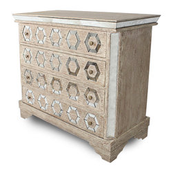 Kathy Kuo Home - Geometric French Manor Mirrored Antique Octagon Dresser Chest - Glamour shines out from this vintage style French dresser, literally - it features a geometric mirror design that brings light and one-of-a-kind style to your French country home. This chest works as an ideal addition to your rustic bedroom décor or as an eye-catching cabinet that will light up your living room.