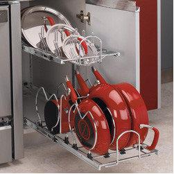 Cabinet Accessories - 2 Tier Cookware Organizer Chrome Wire