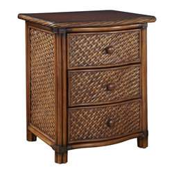 Home Styles - Home Styles Marco Island Night Stand - Home Styles - Nightstands - 554442 - Marco Island Night Stand by Home Styles is island inspired displaying a rich blend of materials including Natural Rattan woven wicker Mahogany solids and veneers in a refined cinnamon finish. Perfect as a night stand or accent table this night stand's design encompasses intricate Natural Woven rattan Panels a Twisted Rattan edged top and solid mahogany posts with leather wrapped strapping. Other features include three large storage drawers with easy-glide side mounted metal guides and matching sculpted Palm Mahogany hardware. Size: 21.25w 17.75d 24.75h.  Assembly required.