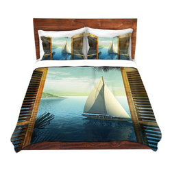 DiaNoche Designs - Duvet Cover Microfiber - Set Sail - Super lightweight and extremely soft Premium Microfiber Duvet Cover in sizes Twin, Queen, King.  This duvet is designed to wash upon arrival for maximum softness.   Each duvet starts by looming the fabric and cutting to the size ordered.  The Image is printed and your Duvet Cover is meticulously sewn together with ties in each corner and a hidden zip closure.  All in the USA!!  Poly top with a Cotton Poly underside.  Dye Sublimation printing permanently adheres the ink to the material for long life and durability. Printed top, cream colored bottom, Machine Washable, Product may vary slightly from image.