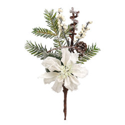 Silk Plants Direct - Silk Plants Direct Iced Pine Cone, Poinsettia and Pine (Pack of 12) - White - Pack of 12. Silk Plants Direct specializes in manufacturing, design and supply of the most life-like, premium quality artificial plants, trees, flowers, arrangements, topiaries and containers for home, office and commercial use. Our Iced Pine Cone, Poinsettia and Pine includes the following:
