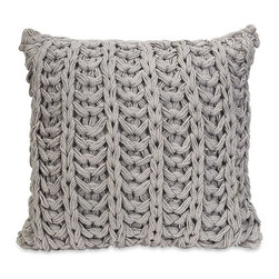 iMax - iMax Hadley Grey Crochet Pillow - Inspired by your favorite chunky knit sweater, the Hadley grey crochet pillow adds a soft touch to any decor.