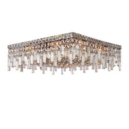 "Worldwide Lighting - Cascade 12 Light Chrome Finish Crystal 20"" Square Ceiling Light - This stunning 12-light Ceiling Light only uses the best quality material and workmanship ensuring a beautiful heirloom quality piece. Featuring a radiant chrome finish and finely cut premium grade crystals with a lead content of 30%, this elegant ceiling light will give any room sparkle and glamour. Worldwide Lighting Corporation is a privately owned manufacturer of high quality crystal chandeliers, pendants, surface mounts, sconces and custom decorative lighting products for the residential, hospitality and commercial building markets. Our high quality crystals meet all standards of perfection, possessing lead oxide of 30% that is above industry standards and can be seen in prestigious homes, hotels, restaurants, casinos, and churches across the country. Our mission is to enhance your lighting needs with exceptional quality fixtures at a reasonable price."