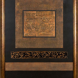 Paragon Decor - Aged Relief Artwork - Exclusive Hand Pulled Foil Embossment - Mixed Media - Mounted on Board