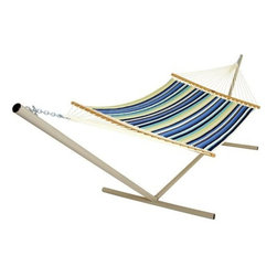 "Pawleys Island - Large Quilted Fabric Hammock - Beaches Stripe - Two ample sheets of compellingly designed all-weather fabric quilted over a plush layer of pillowy polyester fiberfill batting, promising lavish reclining in soft-to-skin comfort.  Hammock stand and pillow sold separately.  Total length 13', bed size 55x82""."