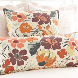 Pine Cone Hill - hot house floral fall decorative pillow - Make a muted backdrop zing with our tropical blooms and foliage on timeless cotton. Decorative piping; feather insert included.��This item comes in��orange.��This item size is��26w 26h.