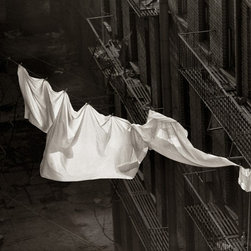 """""""Sheets On Clothesline"""" Artwork - Sheets On Clothesline was photographed in New York city in the late 50's. With washer dryer machines just about available to everyone, these clotheslines are non-existent in NYC. It is printed with a touch of warm tone on Hahnemuhle 13in.x19in. archival 325 gsm Fine Art Baryta Paper which has a beautiful light texture to it. The live image is 9.5in.x12.2in. and signed by Norman Lerner as N. Lerner just below the live image area in the lower right hand corner in the white space."""