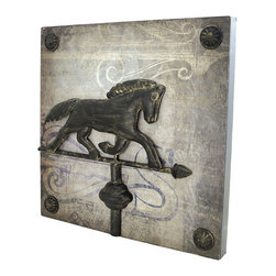Zeckos - Square Metal Wall Plaque with Horse Weathervane - This decorative metal wall plaque adds a unique accent to your home decor. It measures 14 inches tall, 14 inches wide, 1 1/4 inches thick, and features a horse weathervane in the center. It easily mounts to the wall with 2 nails or screws, and makes a great gift for friends and family.