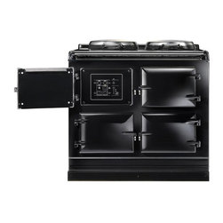 AGA Total Control Range Cooker, Black | ATC3-BLK - The AGA Total Control Range Cooker is a newly designed version of the classic icon of British cooking. Three radiant-heat cast iron ovens and two hotplates give you 10 delicious ways to cook in one range.
