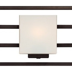 "Possini Euro Design - Lighting on the Square Bronze 37"" Wide Bath Wall Light - This five-light bathroom wall light features sleek lines for a contemporary appeal. The rectangular shades of opal glass are positioned to complement the geometric form of this design. A great modern update your for stylish bath. This is an ADA compliant bath light. Metal construction. Bronze finish. Opal glass shades. ADA compliant. Takes five 60 watt bulbs (not included). 8"" high. 37"" wide. Extends 4"" from the wall. Backplate is 4 1/2"" high and wide.  Bronze finish.   Metal construction.   Opal glass shades.   ADA compliant.   Takes five 60 watt bulbs (not included).   8"" high.   37"" wide.   Extends 4"" from the wall.   Backplate is 4 1/2"" high and wide."