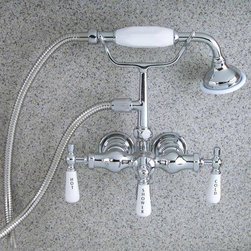 Barclay Mounted Hand Held Clawfoot Tub and Shower Faucet - If you're looking for a clawfoot tub look, but don't have a clawfoot tub - here' s a perfect solution. A  wall-mount version.