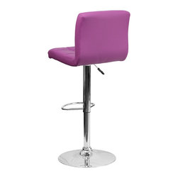 Flash Furniture - Flash Furniture Barstools Residential Barstools X-GG-RUP-DOM-018-SD - This sleek dual purpose stool easily adjusts from counter to bar height. The simple design allows it to seamlessly accent any area in the home. Not only is this stool stylish, but very comfortable to provide you with an amazing sitting experience! The easy to clean vinyl upholstery is an added bonus when stool is used regularly. The height adjustable swivel seat adjusts from counter to bar height with the handle located below the seat. The chrome footrest supports your feet while also providing a contemporary chic design. [DS-810-MOD-PUR-GG]