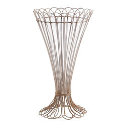 Aiden Gray - Rusted Rose Vases Set of 2 - This hand-bent, rusted wire vase looks like it was plucked out of a Parisian flea market, doesn't it? You could make quick work of a centerpiece by placing a freshly picked bouquet of flowers in it for a shabby chic look.