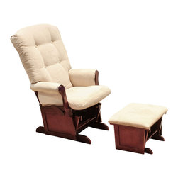 DaVinci - DaVinci Sleigh Multi-position Lock Glider and Ottoman Set in Beige/Cherry - Featuring six secure positions, this glider set from DaVinci allows you to gently rock with the smooth-gliding motion, or lock the position to your favorite spot. Happily rock baby to bed, while nestled in supportive cushioning with this glider set.
