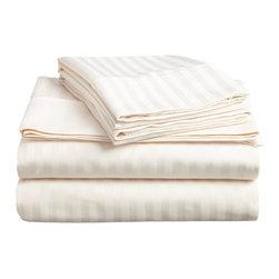 400 Thread Count Egyptian Cotton King Ivory Stripe Sheet Set - 400 Thread Count Egyptian Cotton King Ivory Stripe Sheet Set
