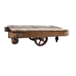 """Used Vintage American Industrial Factory Cart - A vintage factory cart that would make a perfect coffee table. Oak planks and framing, iron hardware, and rubber wheels. A small plaque on the side reads """"Hamilton Truck, The Hamilton Caster & MFG Co., Hamilton, Ohio, USA."""""""