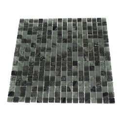 """GlassTileStore - Misted Green Blend Squares 1/2x1/2 Marble & Glass Tile Squares - MISTED GREEN BLEND SQUARES 1/2X1/2 GLASS TILE  The smooth glass and stone combination creates a beautifully multi-dimensional effect. Great to install in kitchen backsplashes, bathrooms and any decorated spot in your home. The mesh backing not simplifies installation, it also allows the tiles to be separted which adds to their design flexibility.      Chip Size: 1/2"""" x 1/2""""   Color: Soft Spa Green, Dark Gray/Green, and Gray/White   Material: Glass and Marble   Finish: Textured, Frosted and Tumbled   Sold by the Sheet - each sheet measures 12"""" x 12"""" (1sq. ft.)   Thickness: 8mm    - Glass Tile -"""
