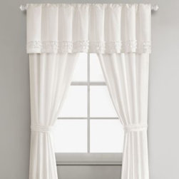 E & E Co., Ltd. - Sidney Window Valance in White - Decorate your window in the soft, luxurious style of the Sidney comforter set with this window valance. It's available in a clean, simple white with ruching across the bottom that coordinates perfectly with the comforter.