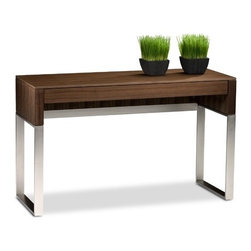 "BDI USA - Cascadia Console Table with Drawer - Features: -Integrates wire retention slots into the drawer.-Making it a perfect rechargeable station in an entryway.-Cascadia are designed for indoor use on level floors.-Console drawer can store and charge most laptops.-Making it an ideal laptop desk.-Includes a soft-closing storage drawer.-Cascadia collection.-Collection: Cascadia.-Distressed: No.-Powder Coated Finish: No.-Gloss Finish: No.-Top Material: MDF.-Solid Wood Construction: No.-Reclaimed Wood: No.-Non-Toxic: Yes.-Drop Leaf Top: No.-Lift Top: No.-Storage Under Table Top: No.-Adjustable Height: No.-Glass Component: No.-Nested Stools Included: No.-Legs Included: Yes -Number of Legs: 2..-Magazine Rack: No.-Casters: No.-Exterior Shelves: No.-Cabinets Included: No.-Drawers: Yes.-Cable Management: Yes.-Outdoor Use: No.-Swatch Available: Yes.-Product Care: Clean shelf with a moist cloth.Dimensions: -Overall Height - Top to Bottom: 29.25"".-Overall Width - Side to Side: 47.75"".-Overall Depth - Front to Back: 19.25"".-Table Top Width - Side to Side: 47.75"".-Table Top Depth - Front to Back: 19.25"".-Overall Product Weight: 63 lbs."