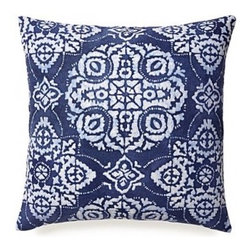 5 Surry Lane - Indigo Blue Jakarta Bali Pillow - Transform your couch in an instant when you dress it up with this beautiful batik, dark blue and white pillow. It's reversible, so when you're craving a solid blue just turn it inside out.