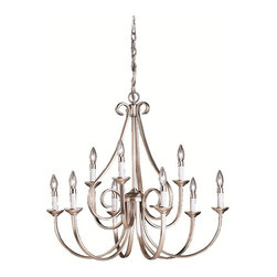 BUILDER - BUILDER Dover Transitional Chandelier X-IN1302 - Brighten any room area with this striking, transitional style chandelier. The Kichler Lighting Dover Transitional chandelier displays a grand look with its graceful ribbon curls and delicate curves. The brushed nickel finish provides additional charm and elegance to the steel frame.
